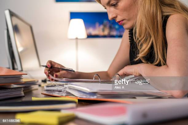 Businesswoman working late