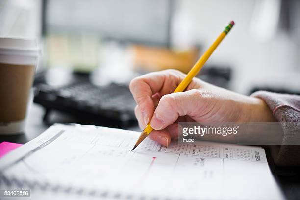 Businesswoman Writing in Weekly Organizer