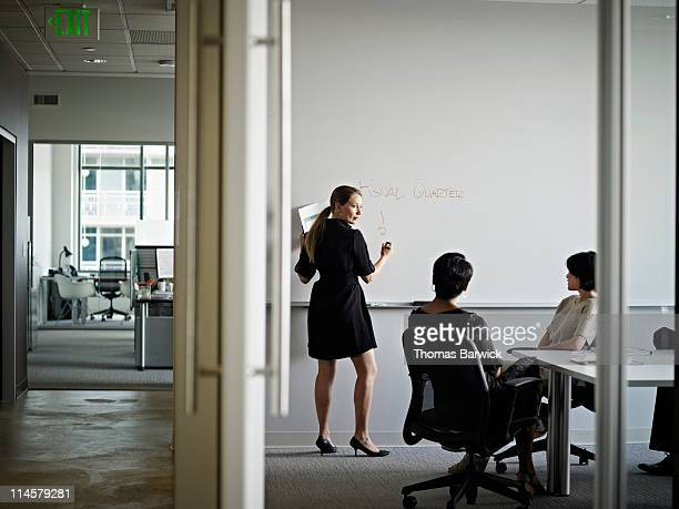 Businesswoman writing on board in conference room