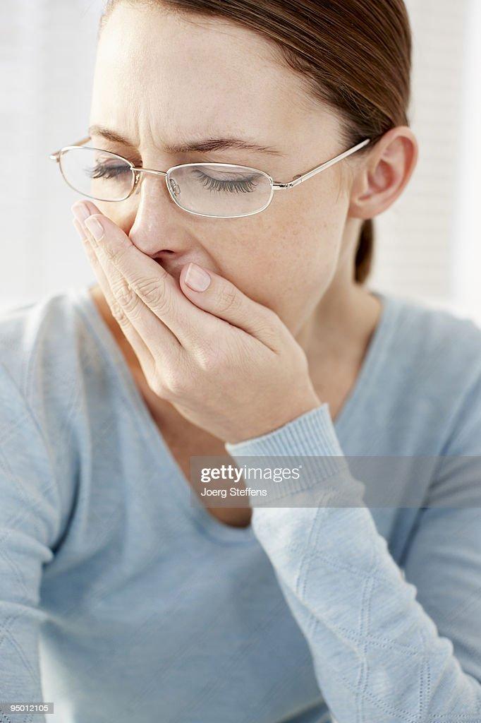 Businesswoman yawning : Stock Photo