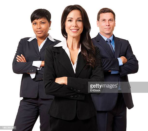 Businesswomen and Businessman Team Isolated on White Background