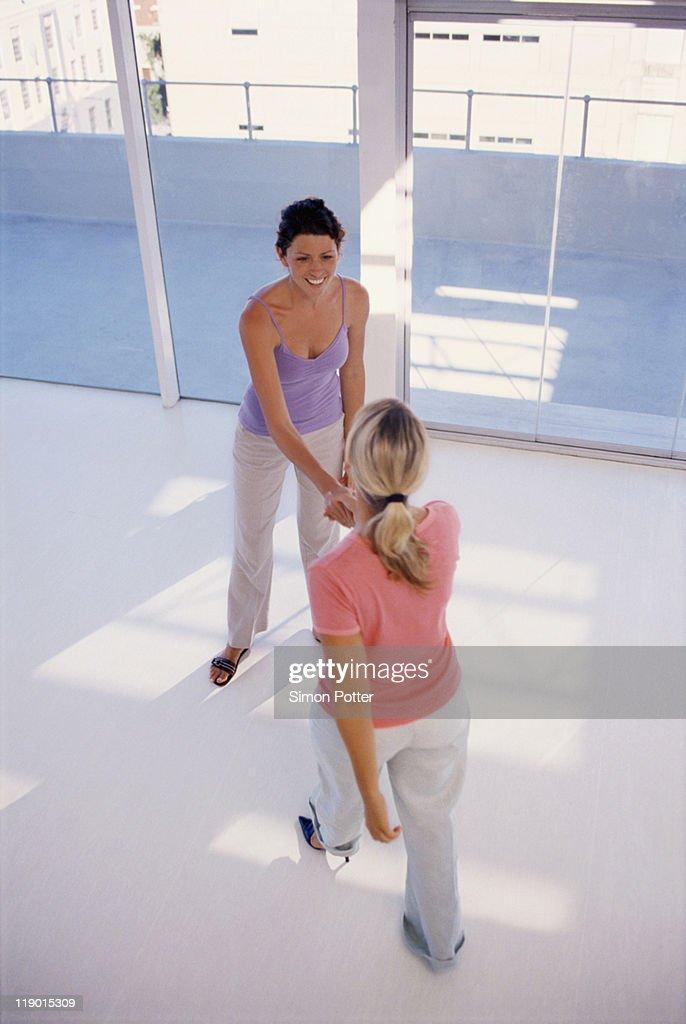 Businesswomen shaking hands in office : Stock Photo