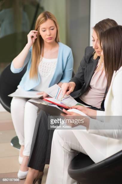 Businesswomen waiting for a job interview