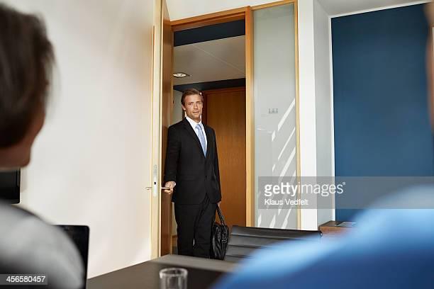 Busisenessman walking in to job interview