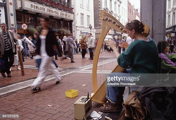 Busker Playing Harp on Grafton Street
