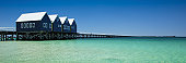 Busselton Jetty with blue sky and flat ocean