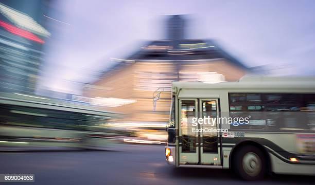 Busses passing Kawaramachi-dori street in Kyoto
