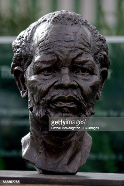 A bust of African National Congress President Oliver Tambo by sculptur the late Ian Walters is seen in North London