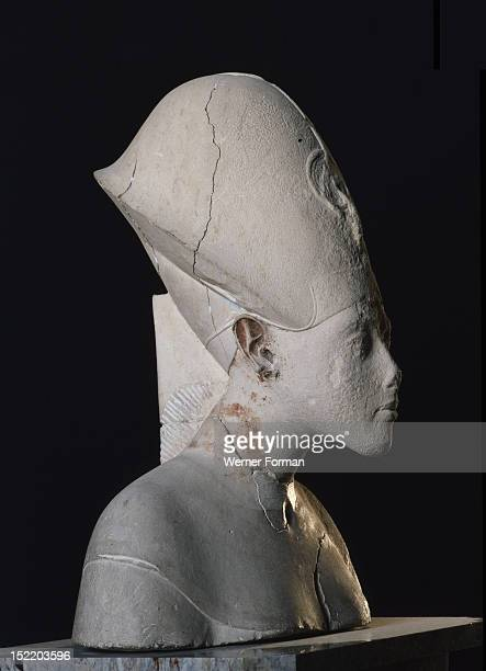 A bust of Amenhotep IV wearing the blue crown or khepresh Egypt Ancient Egyptian 18th dynasty early Amenhotep IV Karnak Aton Temple