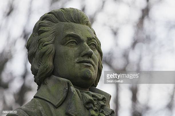 A bust of Austrian composer Wolfgang Amadeus Mozart stands in the garden of Bertramka Villa where Mozart stayed and composed on several occasions...