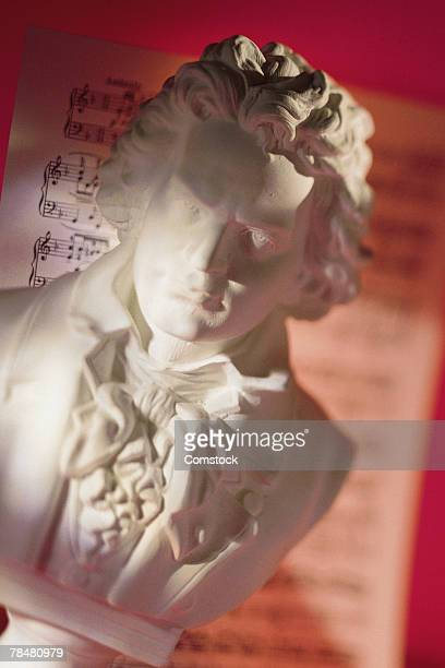 Bust of Beethoven with sheet music