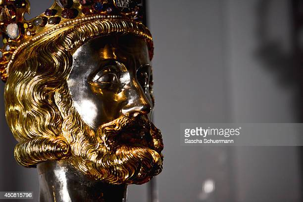 A bust of Charlemagne at the exhibition 'Charlemagne Power Art Treasures' during the press day on June 18 2014 in Aachen Germany The threepart...