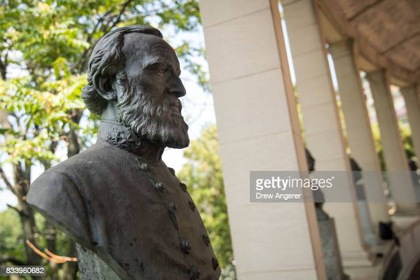 A bust of Confederate general Stonewall Jackson stands in the 'Hall of Fame for Great Americans' on the campus of Bronx Community College August 17...