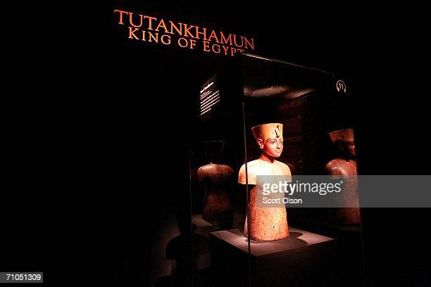 A bust of Egypt's King Tutankhamun part of the artifacts recovered from his tomb is displayed at the Field Museum May 25 2006 in Chicago Illinois The...