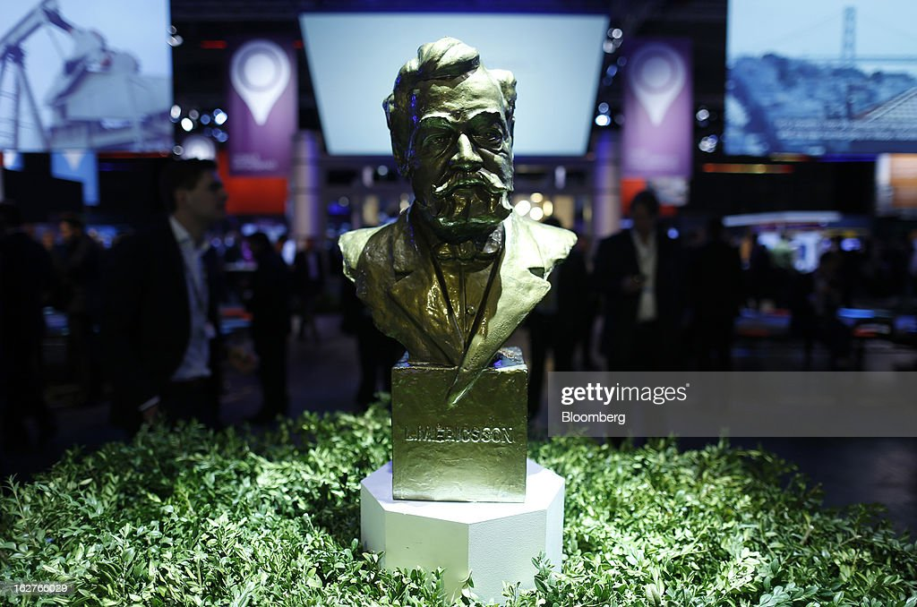 A bust of Lars Magnus Ericsson, founder of the Ericsson equipment manufacturer, stands on display inside the Ericsson AB pavilion at the Mobile World Congress in Barcelona, Spain, on Tuesday, Feb. 26, 2013. The Mobile World Congress, where 1,500 exhibitors converge to discuss the future of wireless communication, is a global showcase for the mobile technology industry and runs from Feb. 25 through Feb. 28. Photographer: Simon Dawson/Bloomberg via Getty Images