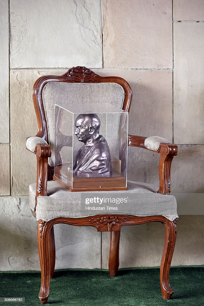 A bust of Mahatma Gandhi lies on a chair that was presented to the crown prince of UAE Sheikh Mohammed Bin Zayed-al-Nahyan after he paid tribute at the Mahatma Gandhi memorial at Rajghon February 11, 2016 in New Delhi, India. In a departure from protocol, Prime Minister Narendra Modi received Abu Dhabis Crown Prince and UAE Deputy Commander-in-chief of Armed Forces Sheikh Mohamed bin Zayed Al Nahyan at the airport as he arrived in New Delhi for a three-day state visit. Hours after his arrival, Al Nahyan expressed his keenness to strengthen strategic relationship between the two countries. At present, India is UAEs number one trading partner with total trade pegged at $60 billion in 2015. UAE was the sixth largest source of crude oil import for India in 2014-15.