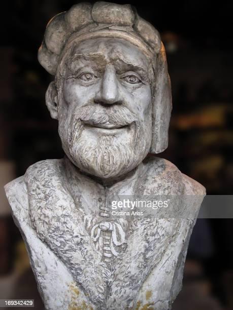 Bust of Marco Polo in a shop in Korcula island of Korcula Croatia