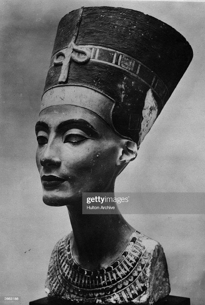 A bust of Nefertiti, 14th century BC queen of Egypt, consort of Akhenaton, circa 1350 BC. Original Artwork: Sculpted head found at Amarna in 1912, in the collection of the Berlin Museum.