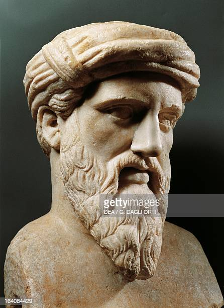 Bust of Pythagoras of Samos ancient Greek philosopher mathematician astronomer scientist and politician Marble Roman statue Roma Museo Capitolino