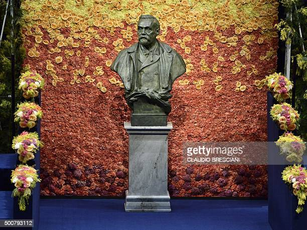 A bust of Swedish industrialist and armaments manufacturer Alfred Nobel is pictured on the stage of Stockholm Concert Hall prior to the 2015 Nobel...
