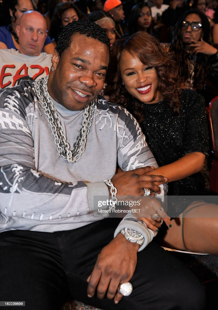 Busta Rhymes (L) and Eve pose at the BET Hip Hop Awards 2013 at Boisfeuillet Jones Atlanta Civic Center on September 28, 2013 in Atlanta, Georgia.