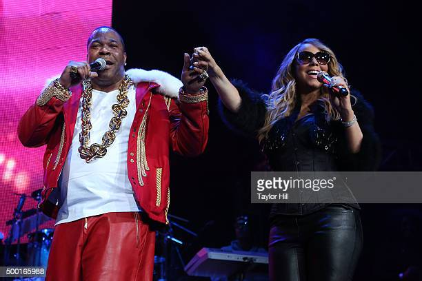 Busta Rhymes and Mariah Carey perform during Hot 97's 'Busta Rhymes and Friends Hot for the Holidays' at Prudential Center on December 5 2015 in...