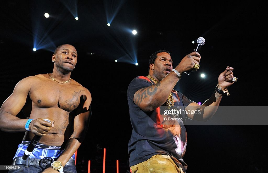 Busta Rhymes and Reek da Villian perform on stage during the Superstars Of Hip Hop concert at Eventim Apollo, Hammersmith on November 2, 2013 in London, United Kingdom.