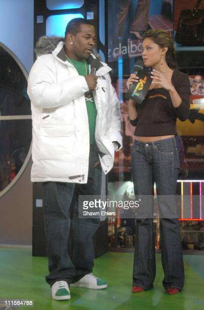 Busta Rhymes and Vanessa Minnillo during Luke Wilson Anthony Anderson and Busta Rhymes Visit MTV's 'TRL' December 7 2005 at TRL Studios in New York...