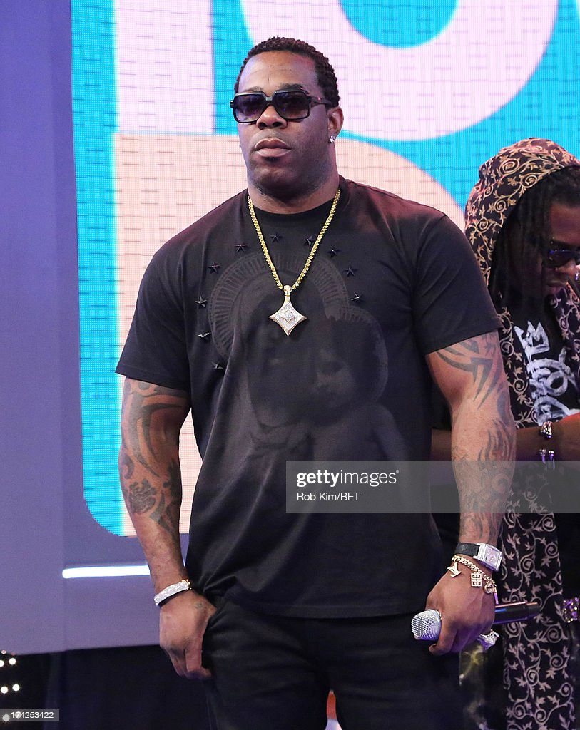 <a gi-track='captionPersonalityLinkClicked' href=/galleries/search?phrase=Busta+Rhymes&family=editorial&specificpeople=208120 ng-click='$event.stopPropagation()'>Busta Rhymes</a> at BET's 106 and Park at BET Studios on July 22, 2013 in New York City.