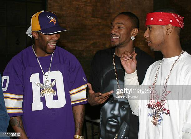 Busta Rhymes Camron and Juelz Santana during Bone Crusher Remix Video Shoot Featuring Busta Rhymes Camron Juelz Santana and Jadakiss at Broadway...