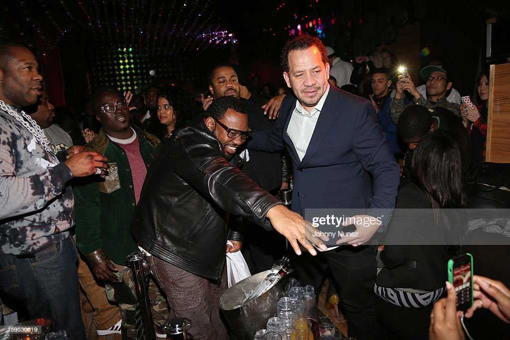 Busta Rhymes, guest, Raekwon, Just Blaze, and Elliott Wilson celebrate Raekwon and Elliott Wilson's birthdays at Greenhouse on January 14, 2013 in New York City.