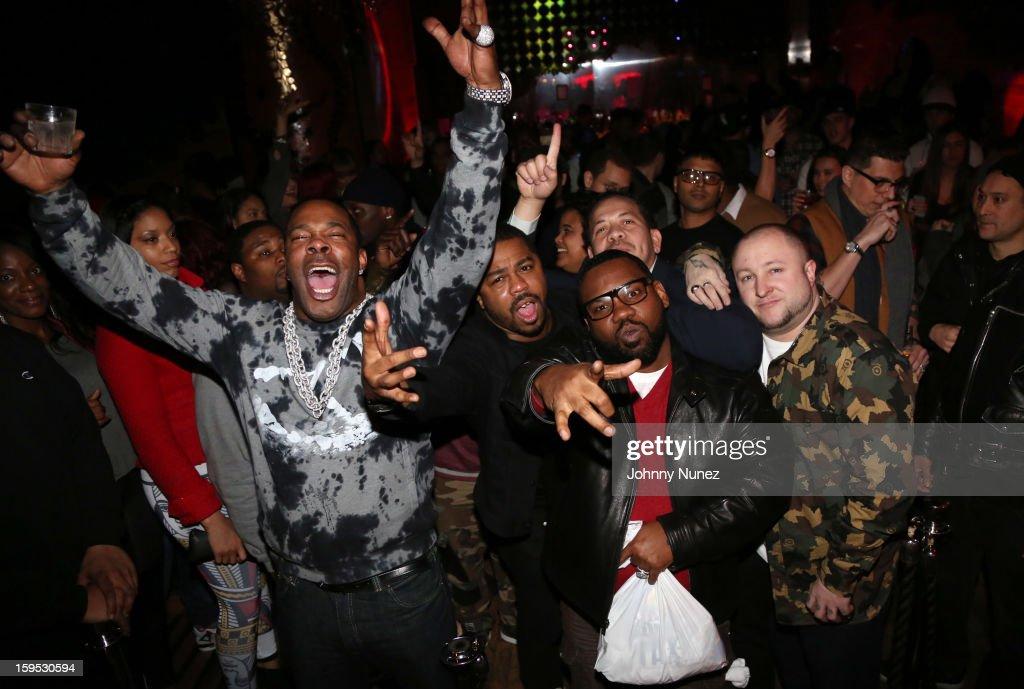 Busta Rhymes, Just Blaze, Elliott Wilson (rear) and Raekwon celebrate Raekwon and Elliott Wilson's birthdays at Greenhouse on January 14, 2013 in New York City.