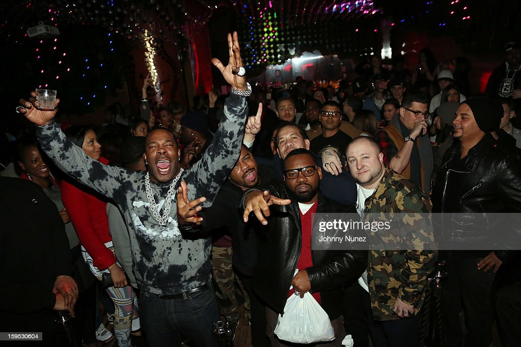 Busta Rhymes, Just Blaze, Elliott Wilson (rear) and Raekwon celebrate Raekwon and Elliott Wilson's birthdays at Greenhouse on January 14, 2013 in New York City.