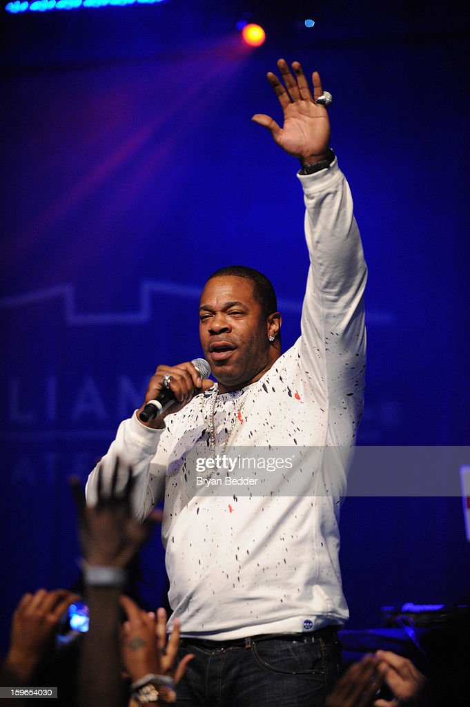<a gi-track='captionPersonalityLinkClicked' href=/galleries/search?phrase=Busta+Rhymes&family=editorial&specificpeople=208120 ng-click='$event.stopPropagation()'>Busta Rhymes</a> performs at VH1 Save The Music Foundation's Songwriters Music Series Remix featuring Swizz Beatz & Friends, presented by Monster DNA Headphones & William Hill Estate Winery at Hard Rock Cafe New York on January 17, 2013 in New York City.