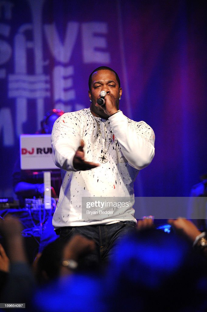 Busta Rhymes performs at VH1 Save The Music Foundation's Songwriters Music Series Remix featuring Swizz Beatz & Friends, presented by Monster DNA Headphones & William Hill Estate Winery at Hard Rock Cafe New York on January 17, 2013 in New York City.