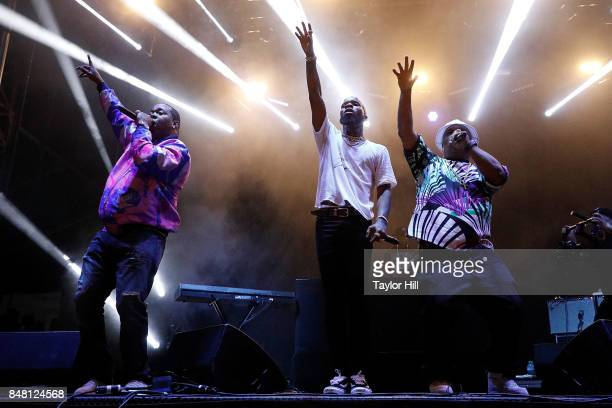 Busta Rhymes Tory Lanez and Spliff Star perform onstage during Day 2 at The Meadows Music Arts Festival at Citi Field on September 16 2017 in New...