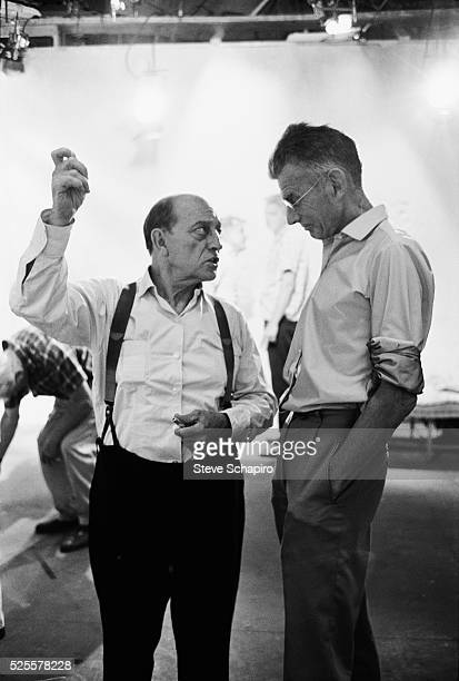 Buster Keaton and Samuel Beckett during the filming of Film written by Beckett