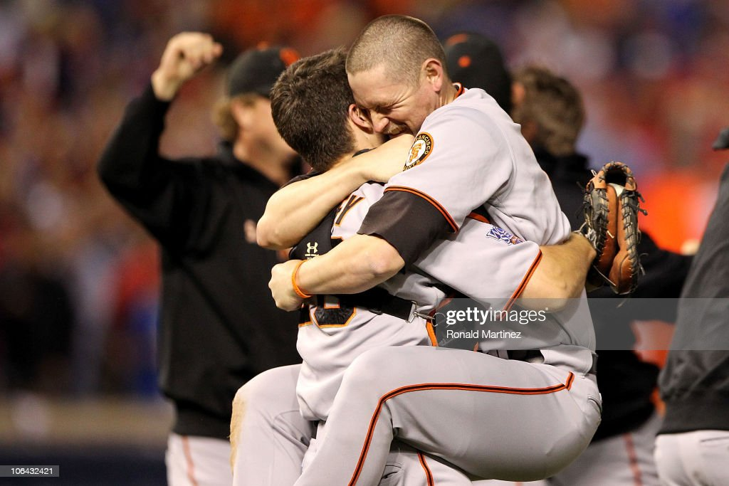 <a gi-track='captionPersonalityLinkClicked' href=/galleries/search?phrase=Buster+Posey&family=editorial&specificpeople=4896435 ng-click='$event.stopPropagation()'>Buster Posey</a> #28 hugs <a gi-track='captionPersonalityLinkClicked' href=/galleries/search?phrase=Aubrey+Huff&family=editorial&specificpeople=208964 ng-click='$event.stopPropagation()'>Aubrey Huff</a> #17 of the San Francisco Giants celebrate their 3-1 victory to win the World Series over the Texas Rangers in Game Five of the 2010 MLB World Series at Rangers Ballpark in Arlington on November 1, 2010 in Arlington, Texas.