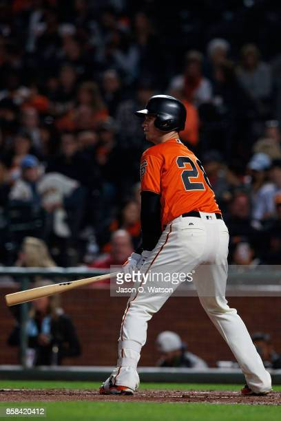 Buster Posey of the San Francisco Giants at bat against the San Diego Padres during the first inning at ATT Park on September 29 2017 in San...