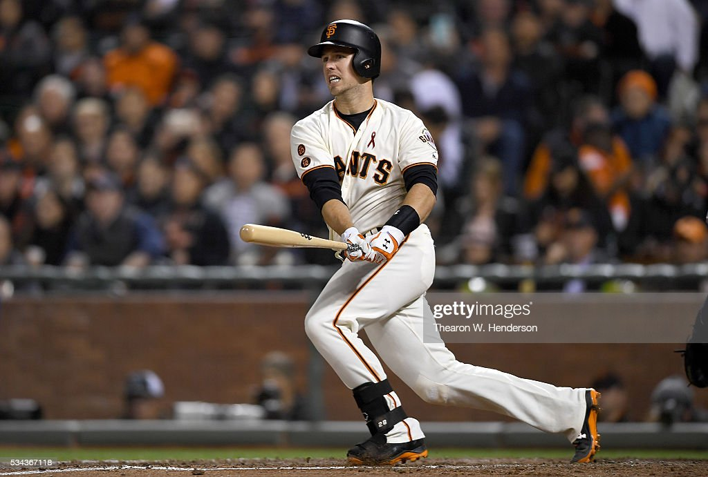 <a gi-track='captionPersonalityLinkClicked' href=/galleries/search?phrase=Buster+Posey&family=editorial&specificpeople=4896435 ng-click='$event.stopPropagation()'>Buster Posey</a> #28 of the San Francisco Giants bats against the San Diego Padres in the bottom of the six inning at AT&T Park on May 23, 2016 in San Francisco, California.