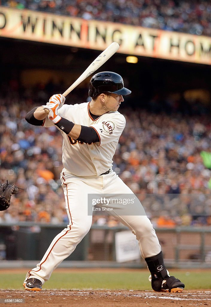 <a gi-track='captionPersonalityLinkClicked' href=/galleries/search?phrase=Buster+Posey&family=editorial&specificpeople=4896435 ng-click='$event.stopPropagation()'>Buster Posey</a> #28 of the San Francisco Giants bats against the St. Louis Cardinals at AT&T Park on July 1, 2014 in San Francisco, California.