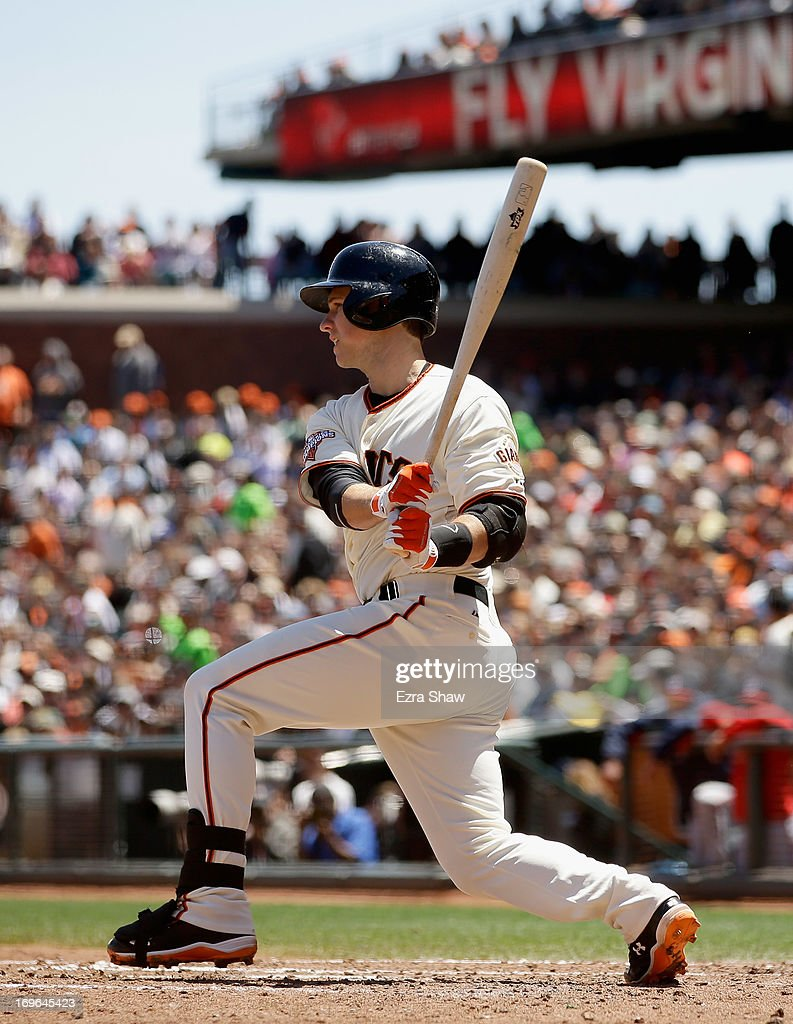 Buster Posey #28 of the San Francisco Giants bats against the Washington Nationals at AT&T Park on May 22, 2013 in San Francisco, California.