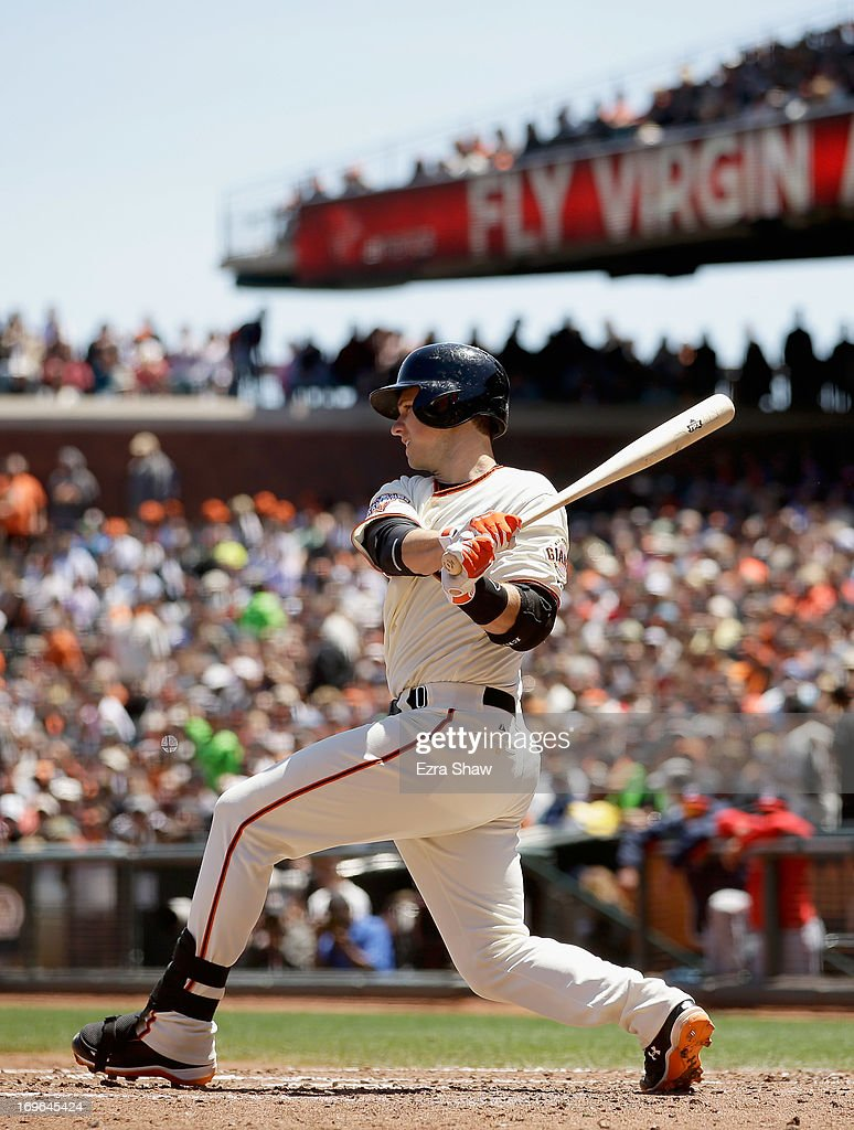 <a gi-track='captionPersonalityLinkClicked' href=/galleries/search?phrase=Buster+Posey&family=editorial&specificpeople=4896435 ng-click='$event.stopPropagation()'>Buster Posey</a> #28 of the San Francisco Giants bats against the Washington Nationals at AT&T Park on May 22, 2013 in San Francisco, California.