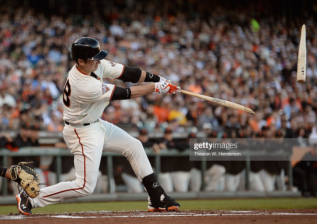 <a gi-track='captionPersonalityLinkClicked' href=/galleries/search?phrase=Buster+Posey&family=editorial&specificpeople=4896435 ng-click='$event.stopPropagation()'>Buster Posey</a> #28 of the San Francisco Giants breaks his bat hitting an RBI single scoring Marco Scutaro #19 in the first inning against the Pittsburgh Pirates at AT&T Park on August 24, 2013 in San Francisco, California.