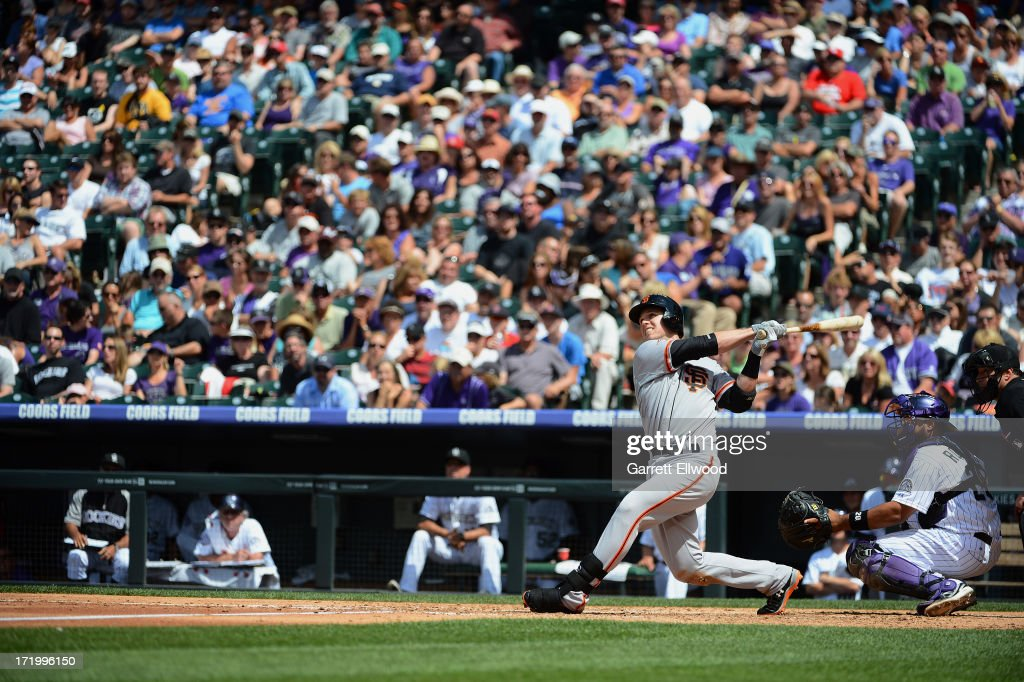 <a gi-track='captionPersonalityLinkClicked' href=/galleries/search?phrase=Buster+Posey&family=editorial&specificpeople=4896435 ng-click='$event.stopPropagation()'>Buster Posey</a> #28 of the San Francisco Giants hits a home run during the third inning of the game against the Colorado Rockies at Coors Field on June 30, 2013 in Denver, Colorado.