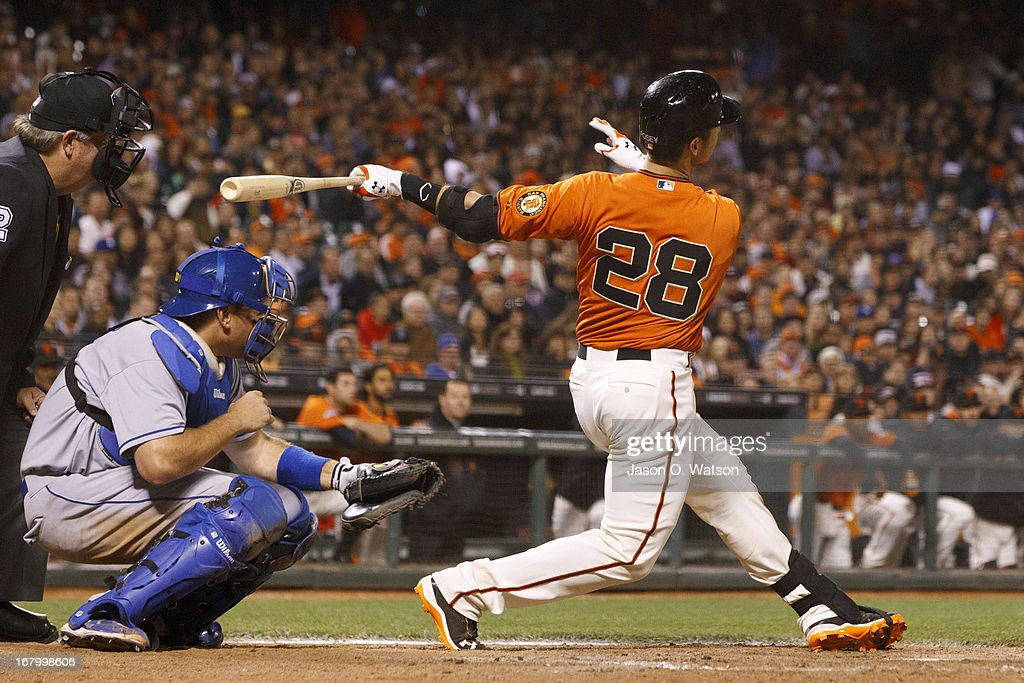 <a gi-track='captionPersonalityLinkClicked' href=/galleries/search?phrase=Buster+Posey&family=editorial&specificpeople=4896435 ng-click='$event.stopPropagation()'>Buster Posey</a> #28 of the San Francisco Giants hits a walk-off home run off of Ronald Belisario (not pictured) of the Los Angeles Dodgers in the ninth inning at AT&T Park on May 3, 2013 in San Francisco, California. The San Francisco Giants defeated the Los Angeles Dodgers 2-1.