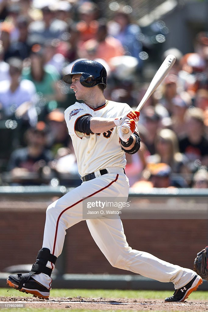 <a gi-track='captionPersonalityLinkClicked' href=/galleries/search?phrase=Buster+Posey&family=editorial&specificpeople=4896435 ng-click='$event.stopPropagation()'>Buster Posey</a> #28 of the San Francisco Giants hits an RBI single against the Pittsburgh Pirates during the third inning at AT&T Park on August 25, 2013 in San Francisco, California.