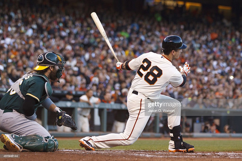 Buster Posey #28 of the San Francisco Giants hits an RBI single against the Oakland Athletics during the third inning at AT&T Park on July 9, 2014 in San Francisco, California.