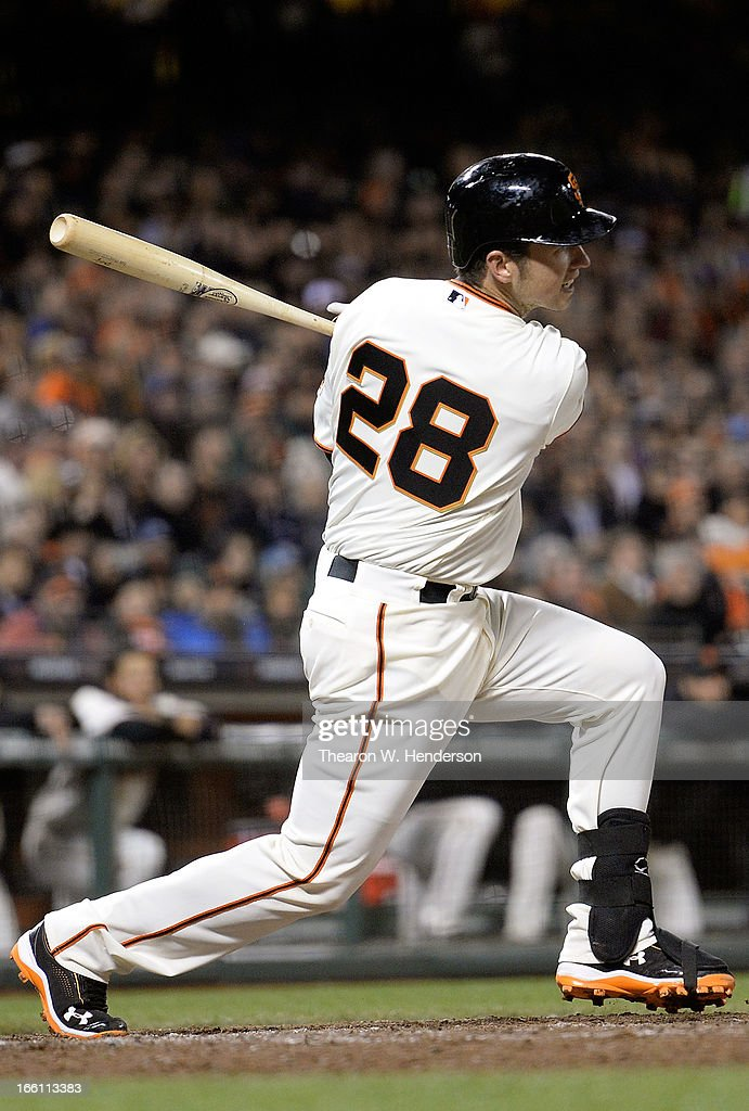 <a gi-track='captionPersonalityLinkClicked' href=/galleries/search?phrase=Buster+Posey&family=editorial&specificpeople=4896435 ng-click='$event.stopPropagation()'>Buster Posey</a> #28 of the San Francisco Giants hits an RBI single, driving in Angel Pagan #16 against the Colorado Rockies in the eighth inning at AT&T Park on April 8, 2013 in San Francisco, California. The Giants won the game 4-2.