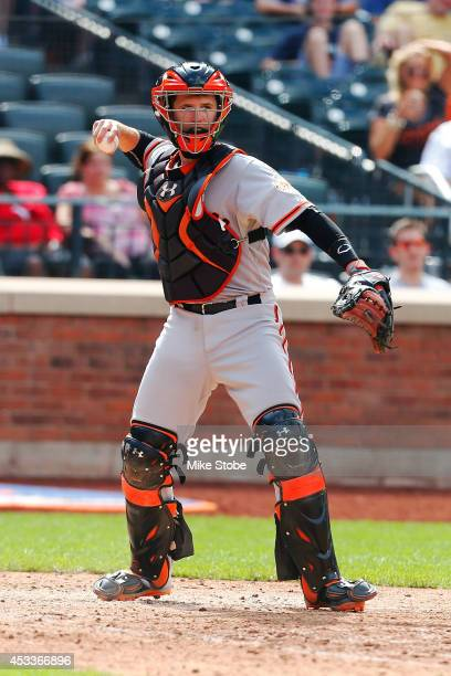 Buster Posey of the San Francisco Giants in action against the New York Mets at Citi Field on August 4 2014 in the Flushing neighborhood of the...